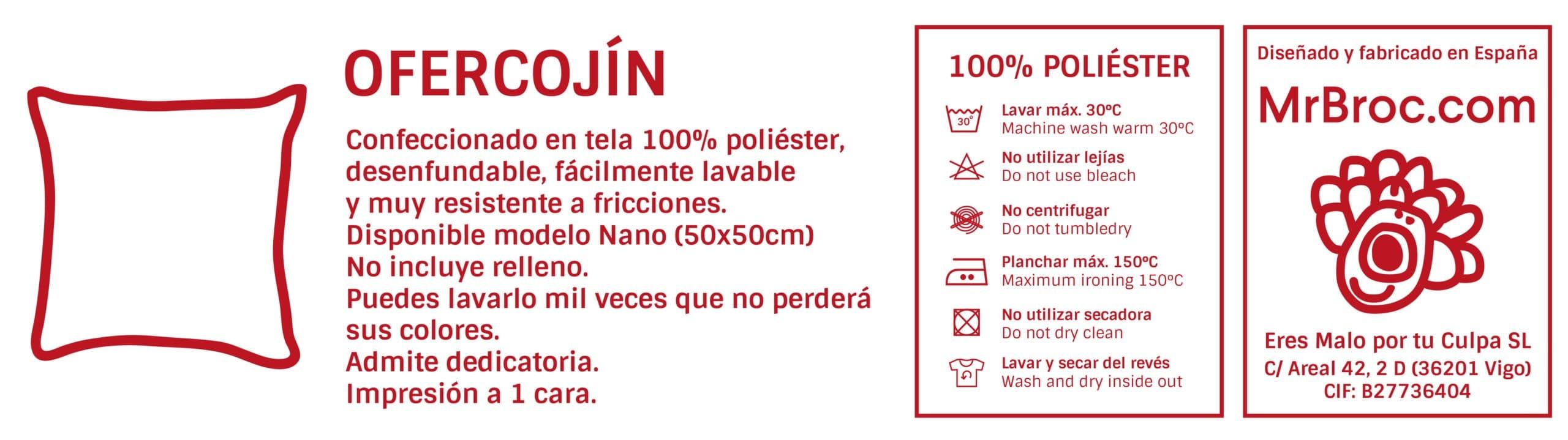 Ficha técnica OferCojín Personalizado Regaloalprofe.com