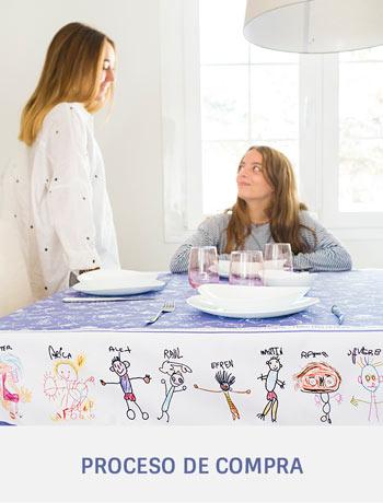 Mantel personalizado con dibujos y nombres niños