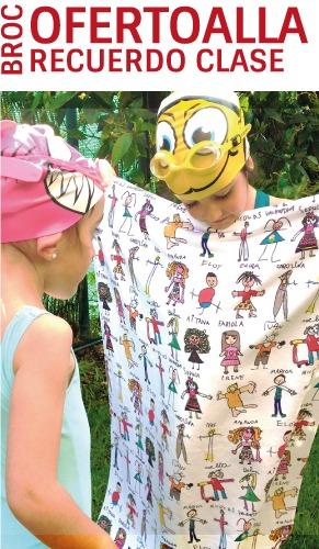 Oferta toalla personalizada con los nombres y los dibujos de los niños