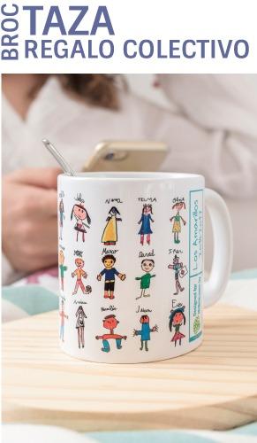 Taza personalizada con los nombres y los dibujos de los niños