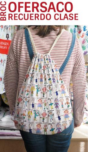 Oferta mochila personalizada con los nombres y los dibujos de los niños