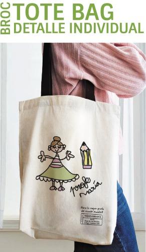 Bolsa tote bag personalizada con el nombre y el dibujo del niño