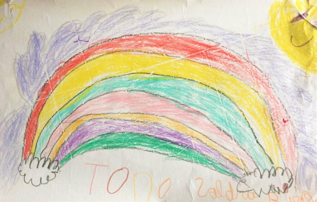 Dibujo arcoiris de niños todo saldra bien