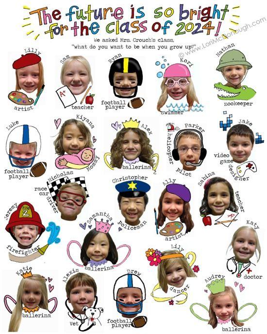 Foto de los niños con su futuro en forma de dibujos