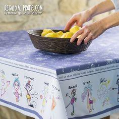 Mantel para el profe con dibujos de los niños
